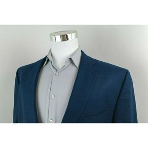 Chaps Blue 2 Button Sport Coat Blazer Mens 50R